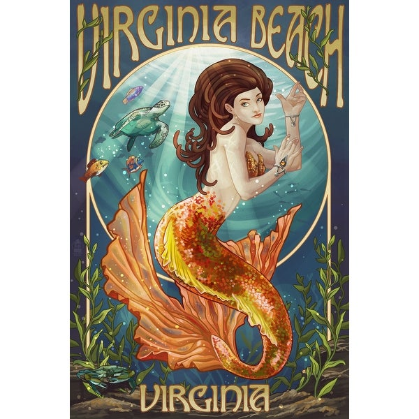 VA Beach, VA - Mermaid - LP Artwork (100% Cotton Towel Absorbent)