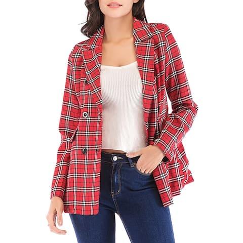 QZUnique Women's Double Button Blazer Oversize Lapel Sport Coat Loose Jacket Suit