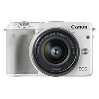 Canon EOS M3 24.2MP 1080P Wi-Fi Camera with EF-M 15-45mm IS STEM Lens (White) (International Model No Warranty)