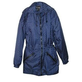 ShedRain Women's Packable Fashion Bitty Dot Print Anorak Rain Jacket