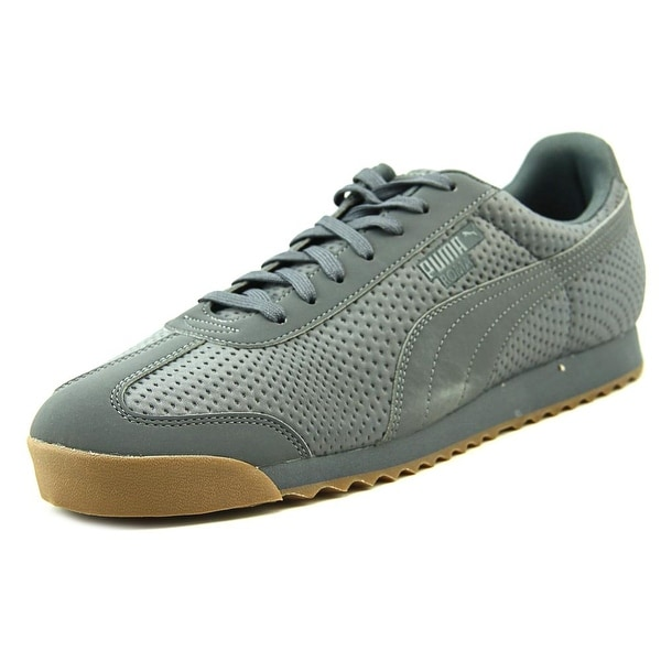 Puma Roma TriEmboss Men Round Toe Canvas Gray Sneakers
