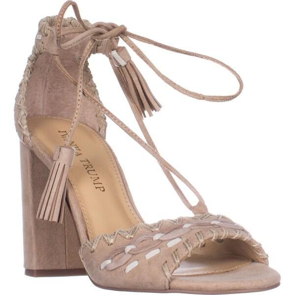 Ivanka Trump Karita Block Heel Lace Up Sandals, Light Natural