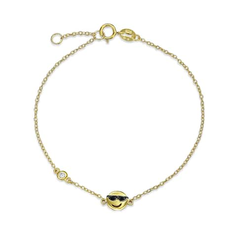 Smiley Face Sunglasses Bracelet Gold Plated 925 Sterling Silver