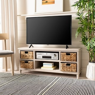 """Link to Safavieh Rooney Vintage Grey 4-Drawer Storage 20"""" Entertainment Console - 47.2"""" x 15.7"""" x 20.1"""" Similar Items in TV Consoles"""