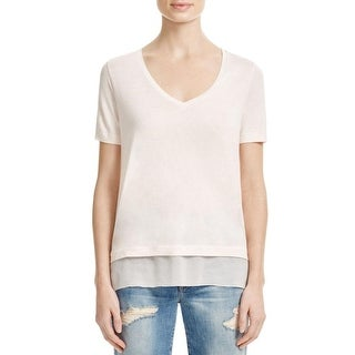 Vince Womens Casual Top Chiffon Trim V Neck - s