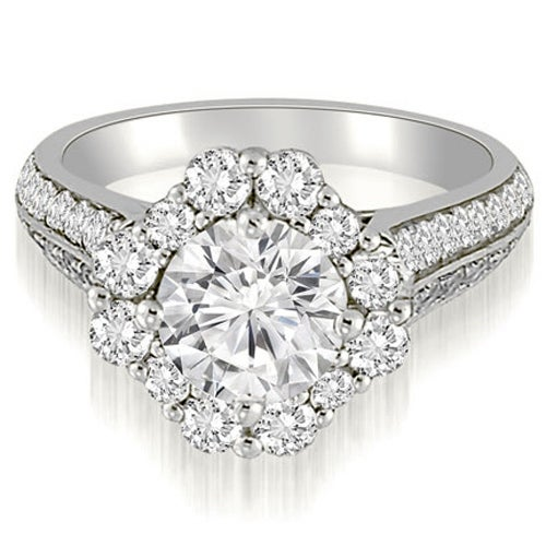 1.75 cttw. 14K White Gold Halo Two Row Round Cut Diamond Engagement Ring
