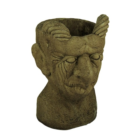 Designer Stone Driftwood Grey Gargoyle Head Concrete Planter - 14.25 X 9 X 7.75 inches