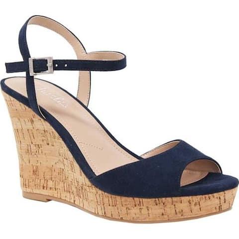 9ec78555a708 Charles by Charles David Women s Lambert Ankle Strap Platform Wedge Sandal  Navy Microsuede