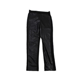 Inc International Concepts Black Pleather-Inset Leggings 10