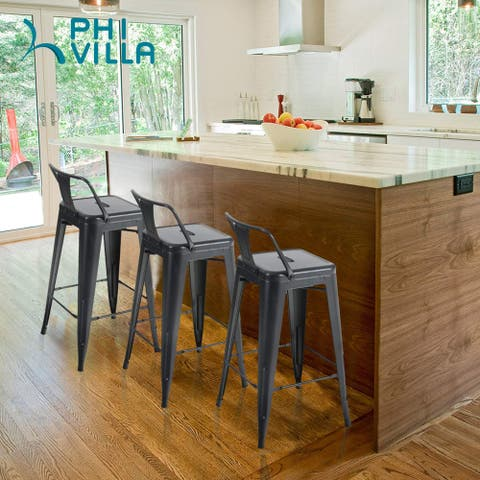 PHI VILLA Metal Bar Stools Set of 4, 24'' and 26''Counter Height Bar Stool Dining Chairs with Backrest, Ergonomic Design - Black