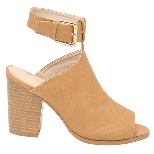 Shop Soho Adult Tan Buckle Strap Peep Toe Block Heel Bootie Sandals 6 Women  - Free Shipping On Orders Over  45 - Overstock - 22122826 42a0dbbf4