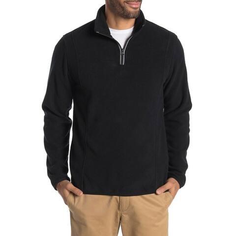 Vintage 1946 Mens Partial Zip Fleece Knit Sweatshirt Small Pirate Black