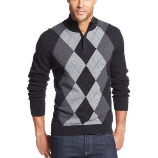 Tasso Elba Argyle Sweater Medium M Deep Black Combo 1/4 Zip Mockneck