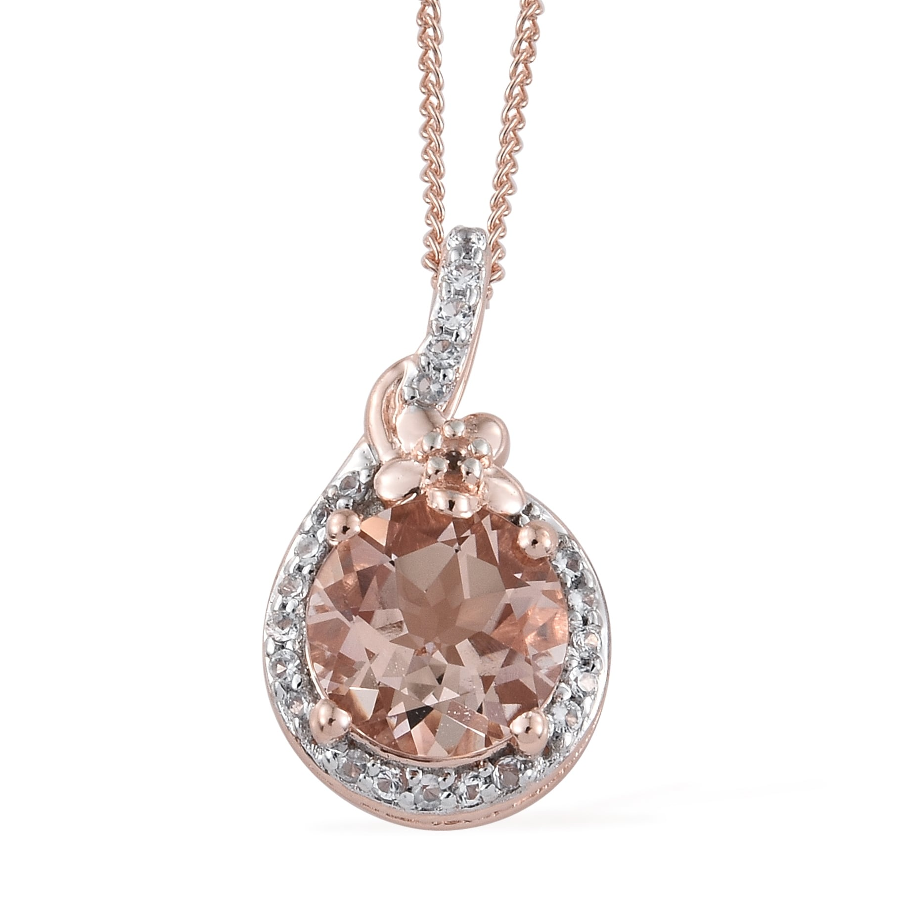 "Morganite Pendant Necklace 925 Sterling Silver Handmade Women Christmas Gift 18/"""