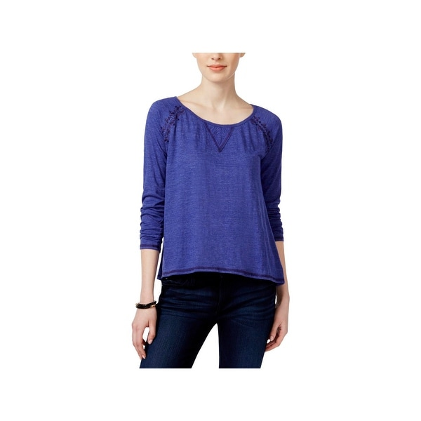 Miss Me Womens Pullover Top Embroidered Lace Inset
