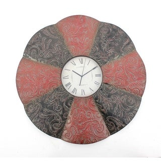 Traditional Black & Red Floral Metal Wall Clock