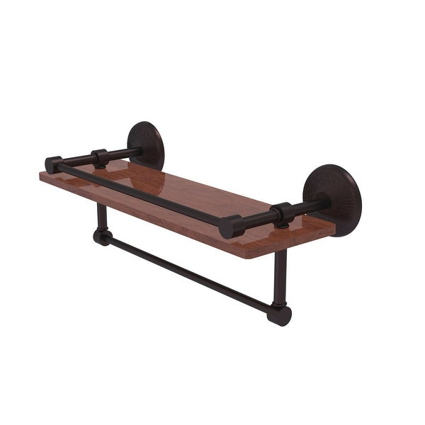 Allied Brass Monte Carlo Collection hardwood Shelf with Gallery Rail and Towel Bar