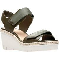 Clarks Women's Palm Shine Wedge Sandal Khaki Leather
