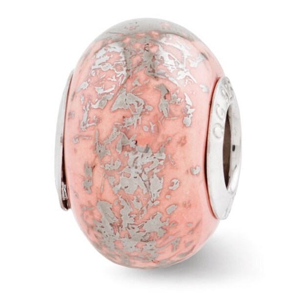 Italian Sterling Silver Reflections Pink with Platinum Foil Ceramic Bead (4mm Diameter Hole)