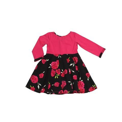 Little Girls Red Pink Black Rose Bow Back Lula Belle Twirl Romance Dress