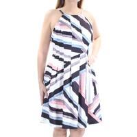 VINCE CAMUTO Womens White Pleated Printed Sleeveless Jewel Neck Knee Length Dress  Size: 10
