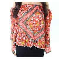 Taylor & Sage Womens Small Bell-Sleeve Floral-Print Knit Top