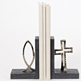 "6.25"" Religious Black and Gold Cross Fish Bookends"