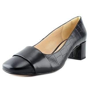 Clarks Chinaberry Sky Women Square Toe Leather Black Heels