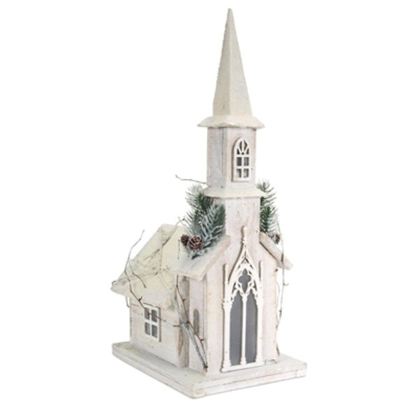 """Set of 2 Pre-Lit Church with Pine and Twigs Christmas Decorations with Clear LED Lights 20.25"""" - WHITE"""