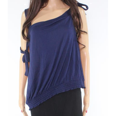 Abound Women's Navy Smocked Tie-Sleeve Blue Size Small S Knit Tank Cami Top