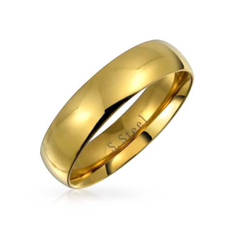 Dome Comfort Fit Wedding Band Rings For Couples For Men For Women 14k Gold Plated Stainless Steel 5mm