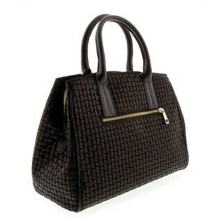HS2076 NR SASA Black Leather Satchel/Shoulder Bag - 13-10-6