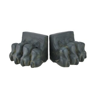 Pair of Black and Verdigris Lion Paw Cement Bookends
