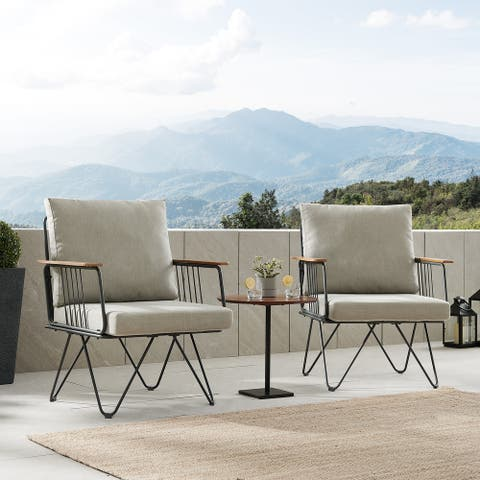 Havenside Home Metal Hairpin Leg Patio Chair, Set of 2
