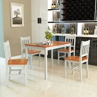 Gymax 5 Piece Dining Table Set 4 Chairs Solid Wood Home Kitchen Breakfast Furniture - as pic