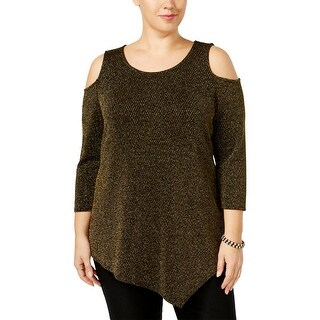 NY Collection Womens Plus Casual Top Metallic Open Shoulder
