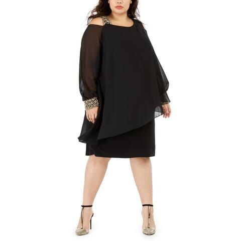 Betsy & Adam Womens Plus Cocktail Dress Embellished Cold Shoulder - Black/Gunmetal