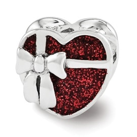 Sterling Silver Reflections Red Enameled Heart Bead (4mm Diameter Hole)