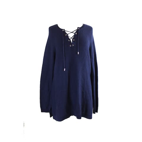 Charter Club Plus Size Intrepid Blue Lace-Up Sweater 0X
