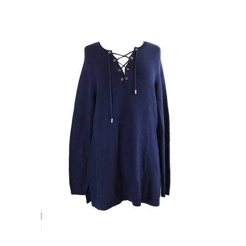 Charter Club Plus Size Navy Lace-Up Sweater 3X