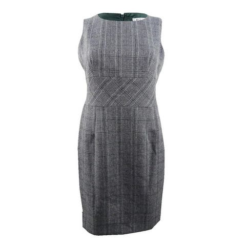 Kasper Women's Petite Plaid Sheath Dress - Fir Green Multi