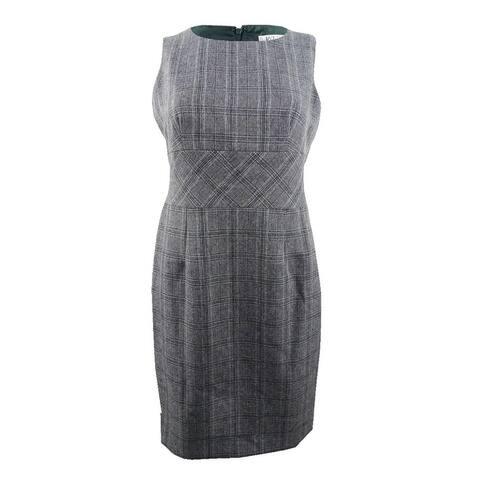 Kasper Women's Plaid Sheath Dress - Fir Green Multi