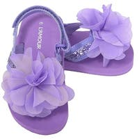 L'Amour Purple Sequin Flower Flip Flop Sandals Toddler Girls 5-10