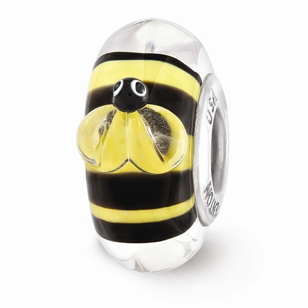Sterling Silver Reflections Yellow and Black Bumblebee Glass Bead