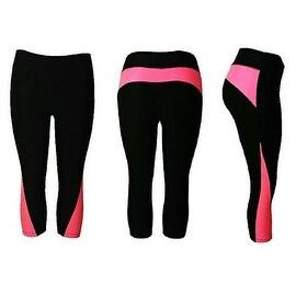 Women's Athletic Fitness Sports Yoga Pants Capri Large/X-Large-Black/Pink
