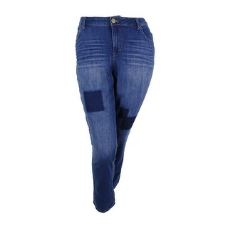 Style & Co. Women's Plus Size Patchwork Tummy-Control Slim-Leg Jeans - fiji