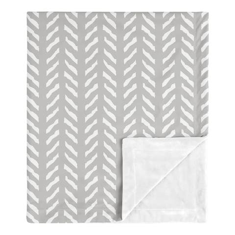 Grey Boho Arrow Boy Girl Baby Receiving Security Swaddle Blanket - Gray Herringbone for Woodland Forest Friends Collection