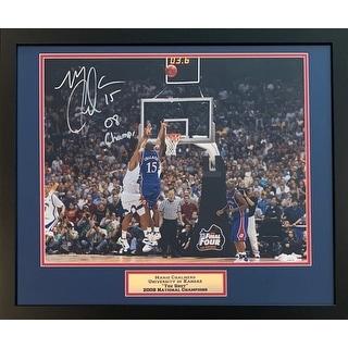 Mario Chalmers Autographed Kansas Jayhawks THE SHOT 2008 National Champions Signed Framed 8x10 Basketball Photo JSA COA