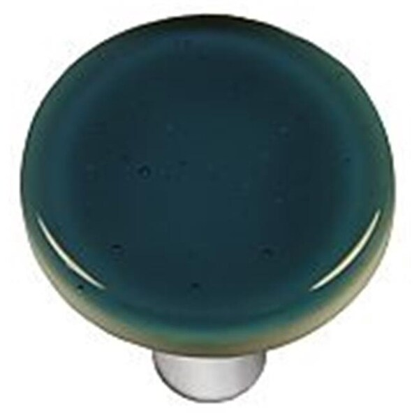 Hot Knobs Steel Blue Round Glass Cabinet Knob   Aluminum Post