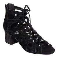 Aerosoles Women's Middle Ground Ghillie Lace Sandal Black Suede